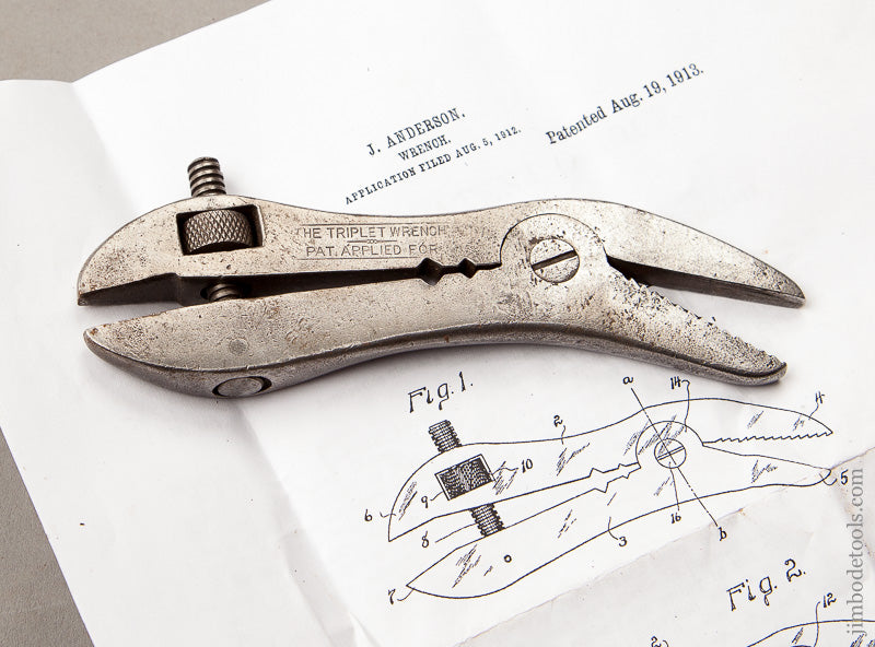STANLEY 5 1/2 Inch ANDERSON August 19, 1913 Patent THE TRIPLET Wrench - 68156R