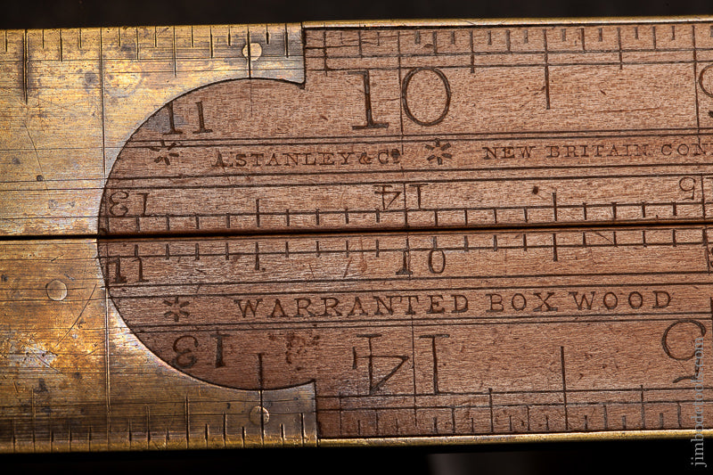 Rare! Type One A. STANLEY & CO. No. 14 Carpenter's Slide Rule with Gunter's Scales -- Fine and Flawless! - 68244U