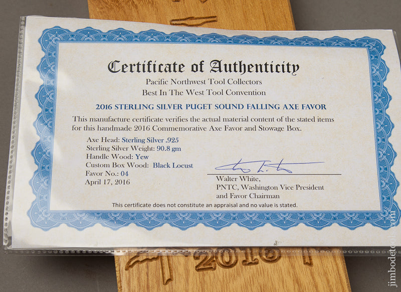 Solid Sterling Silver 2016 PNTC BEST IN THE WEST Axe Favor in Custom Wooden Box - 69000U