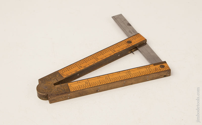 Near Mint! 12 inch STEPHENS January 12, 1858 Patent CHAPIN STEPHENS CO No. 036 Inclinometer Folding Rule with Level, Bevel, Square, and Rule! - 70134