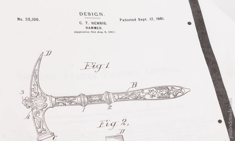 Near Mint! HENIG September 17, 1901 Patent Ornamental Hammer - 71335U