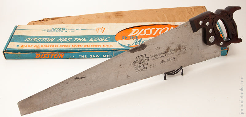 10 point 26 inch DISSTON D-95 Rosewood Hand Saw NEAR MINT in Original Box - 71441R