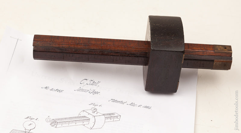 C. SHOLL March 8, 1864 Patent Four Stem Rosewood Marking Gauge - 71459R