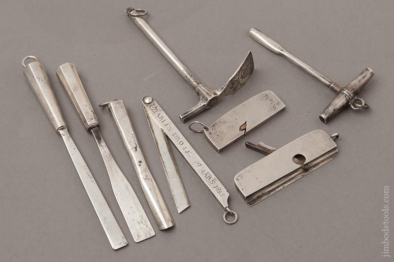 AMAZING Set of Eight Miniature Woodworking Tools in Sterling Silver DATED 1809, 1815, 1824, 1825! - EXCELSIOR 71711