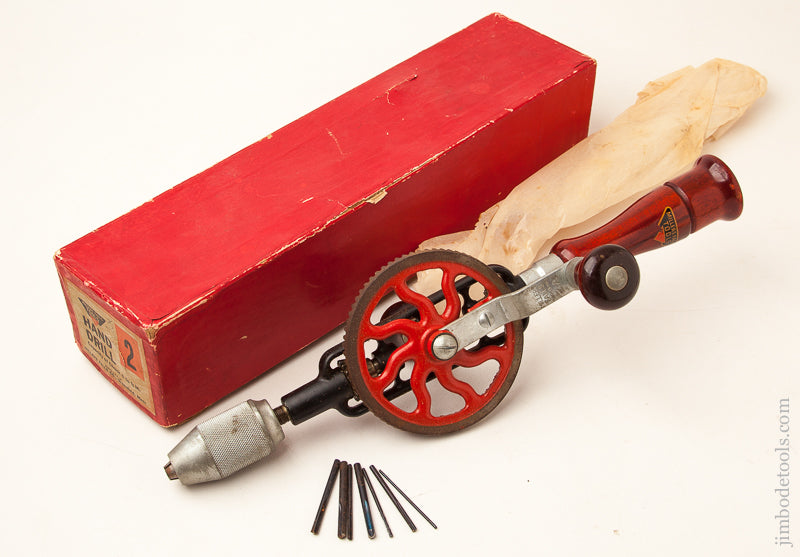 MILLERS FALLS No. 2 Hand Drill with Decal in Original Box with 7 Bits - 72036
