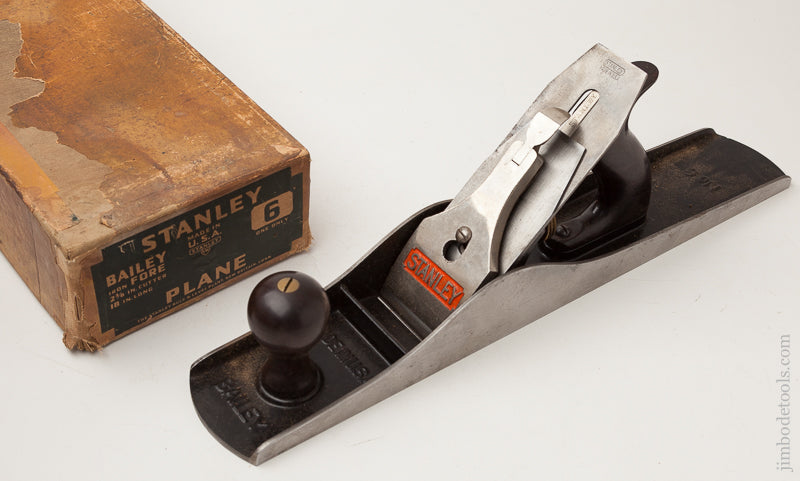 STANLEY No. 6 Fore Plane Type 16 circa 1939 with Dated 2 3/8 inch BB Logo Iron in Original Box - 72149