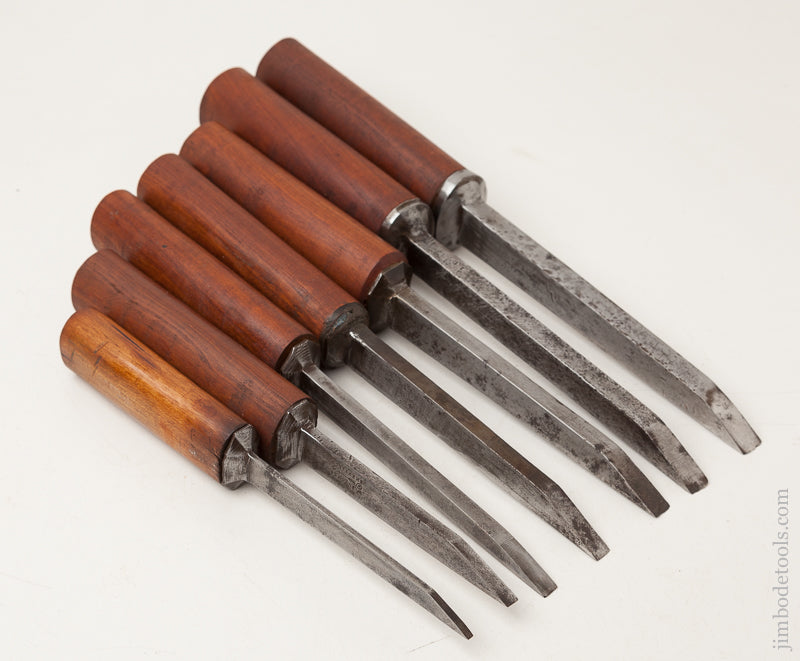 Great Working Set of Seven Pig Sticker Mortise Chisels by W. BUTCHER circa 1799-1900 - 72264