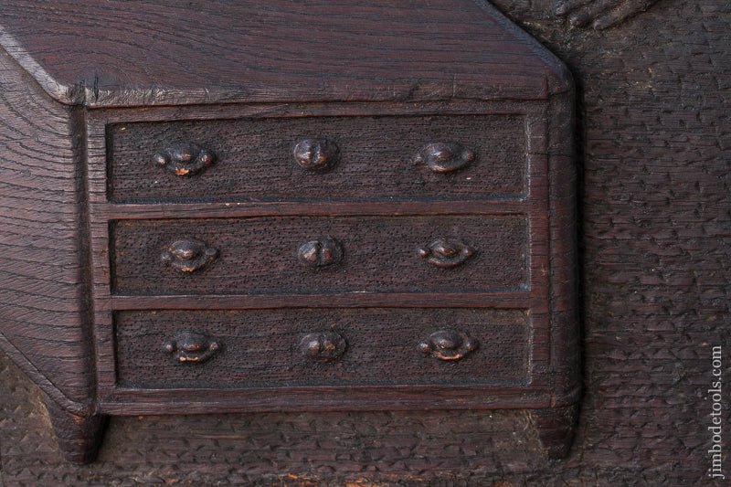 "AMAZING! 18th Century Carved Oak Panel of Carpenter Workbench & Tools 21 1/4"" x 64 1/4"" * EXCELSIOR 72334U - AS OF MAR 19"