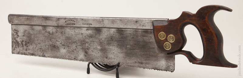RARE Early 9 point 14 inch Triple Medallion Crosscut WILLIAMS LONDON Back Saw circa 1841-52 - 72468