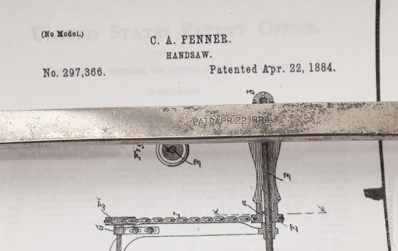 Fantastic FENNER's April 22, 1884 Patent Coping Saw - 72741