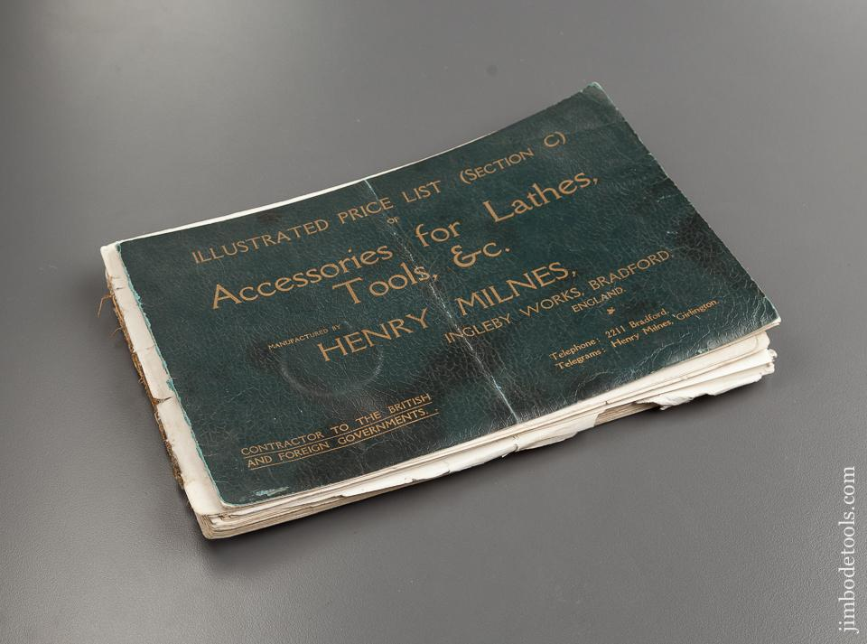 Book:  ILLUSTRATED PRICE LIST (SECTION C) OF ACCESSORIES FOR LATHES, TOOLS, &C. MANUFACTURED BY HENRY MILNES, INGLEBY WORKS, BRADFORD ENGLAND - 72759R