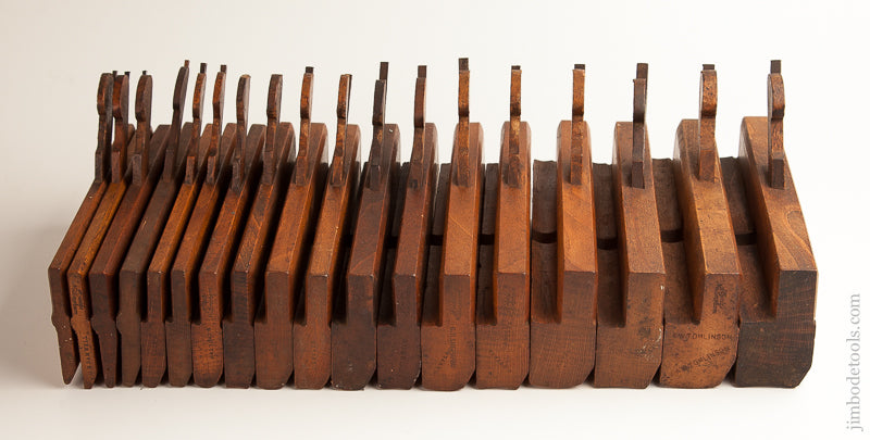 Complete Set of 18 Hollows & Rounds Moulding Planes by HIELDS NOTTINGHAM circa 1830-81 - 73892