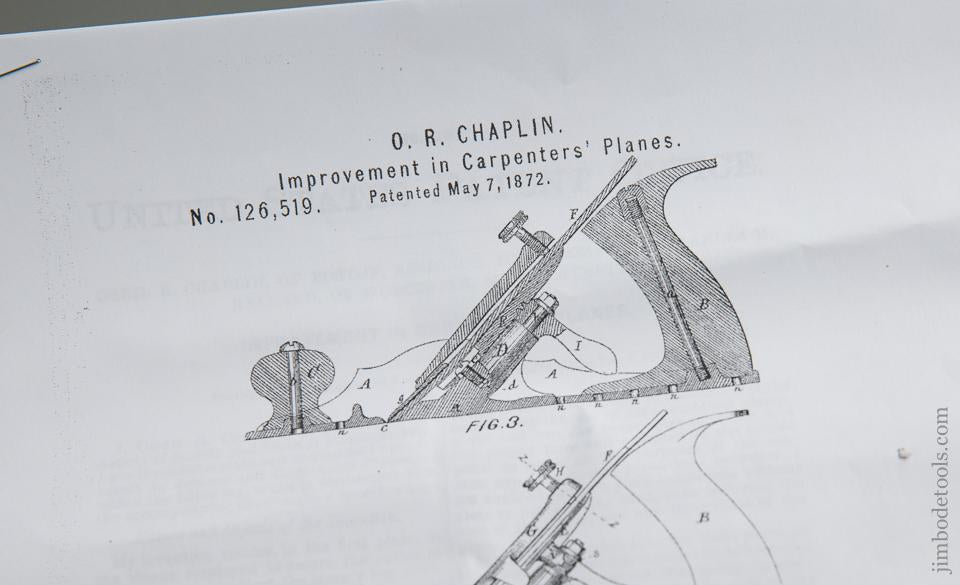 CHAPLIN's Patent May 7, 1872 No. 7 Jack Plane with Iron Handles! - 76048