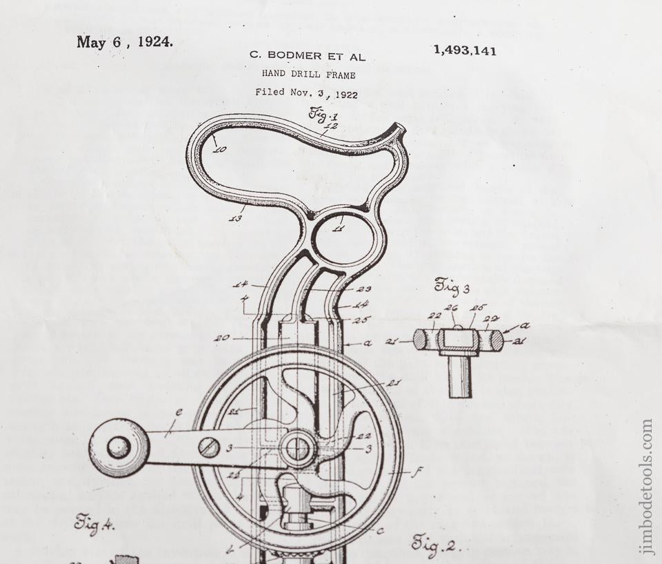 BODMER November 3, 1922 Patent STANLEY No. 610 Cast Iron Frame Drill SWEETHEART - 76094
