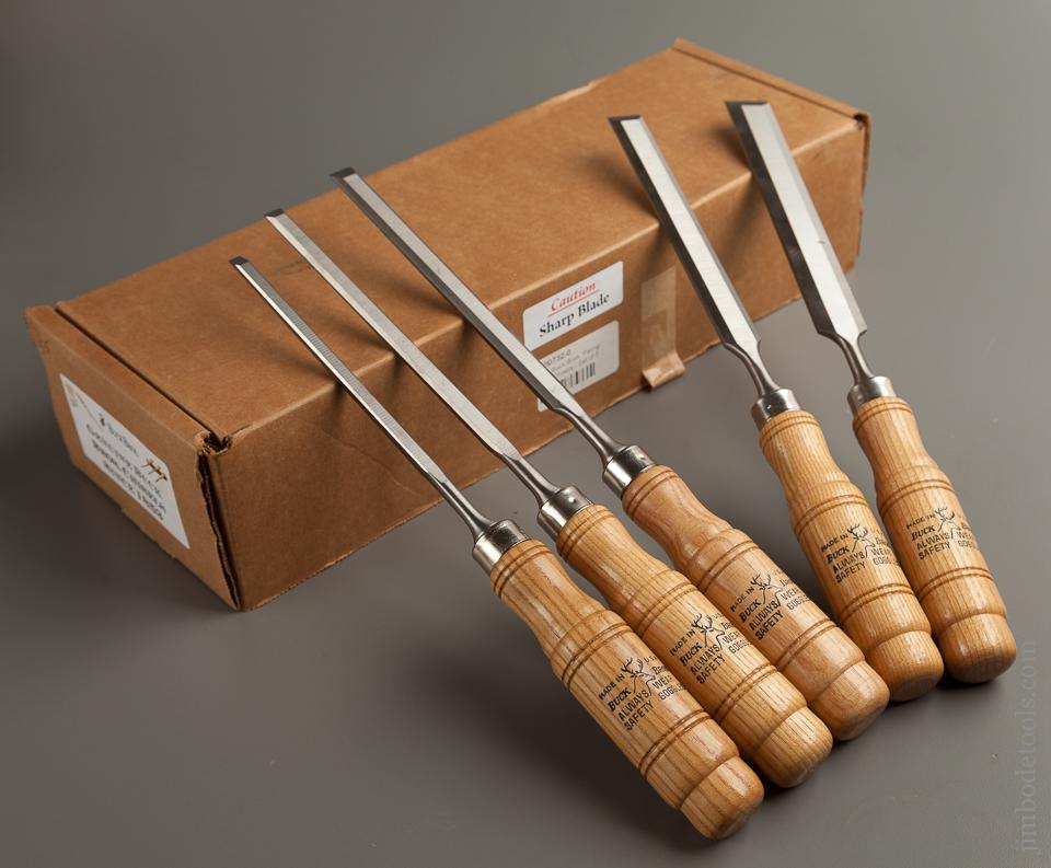 Set of Five BUCK BROS Tang Chisels MINT in Original Box - 76279