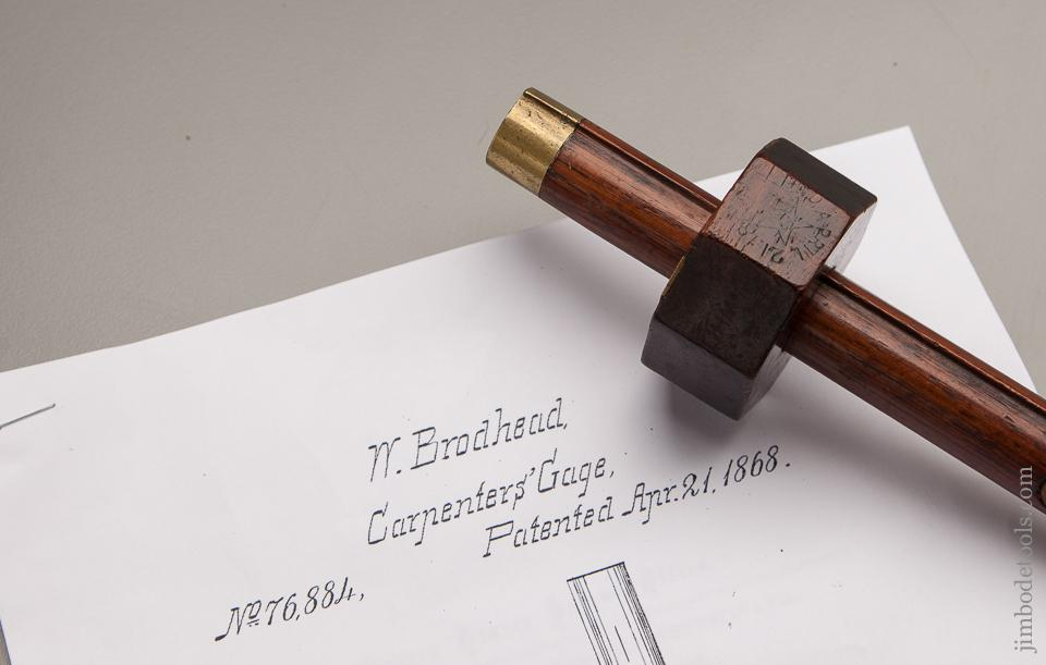 BRODHEAD Patent April 21, 1868 STAR TOOL CO 8 1/4 inch Rosewood and Brass Mortise Gauge - 77226