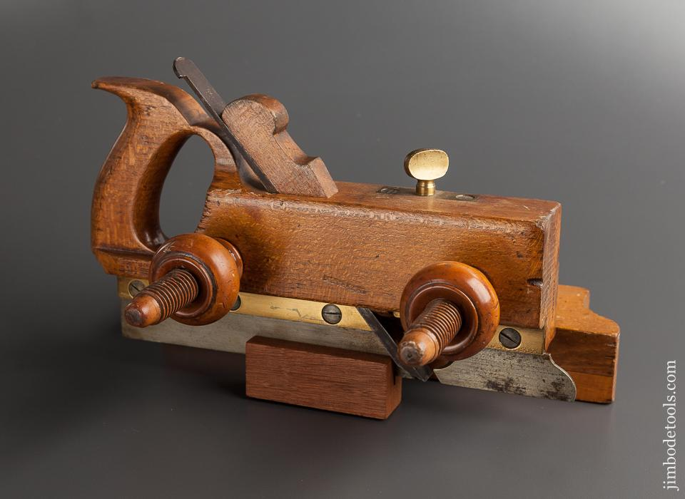Good User TABER PLANE CO Handled Beech and Boxwood Screw Arm Plow Plane circa 1866-72 New Bedford MA - 77603