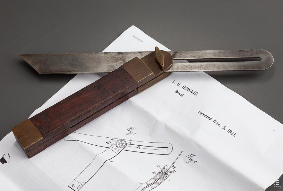 HOWARD'S November 5, 1867 PATENT Rosewood and Brass Bevel - 77668R