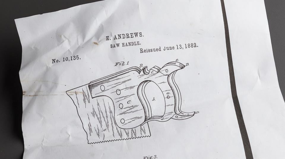 Rare! ANDREWS Patent 1875/1882 Hand Saw - 77686