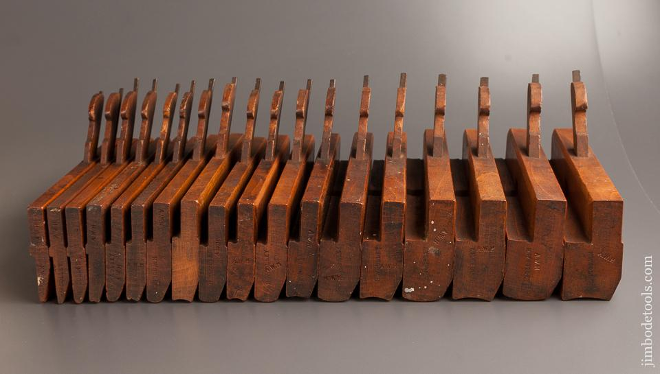 Complete SKEWED Set of 18 MOSELEY Hollows & Rounds Moulding Planes circa 1862-80 London EVENS - 77860