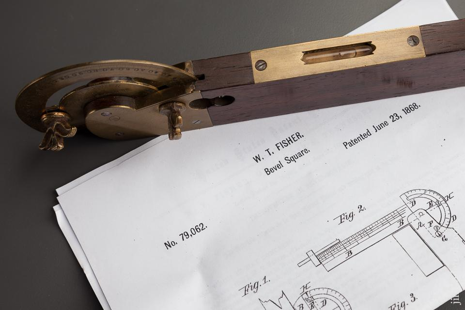 Rare and Ornate! FISHER Patent June 23, 1868 Twelve inch Rosewood and Brass Bevel - 77894R
