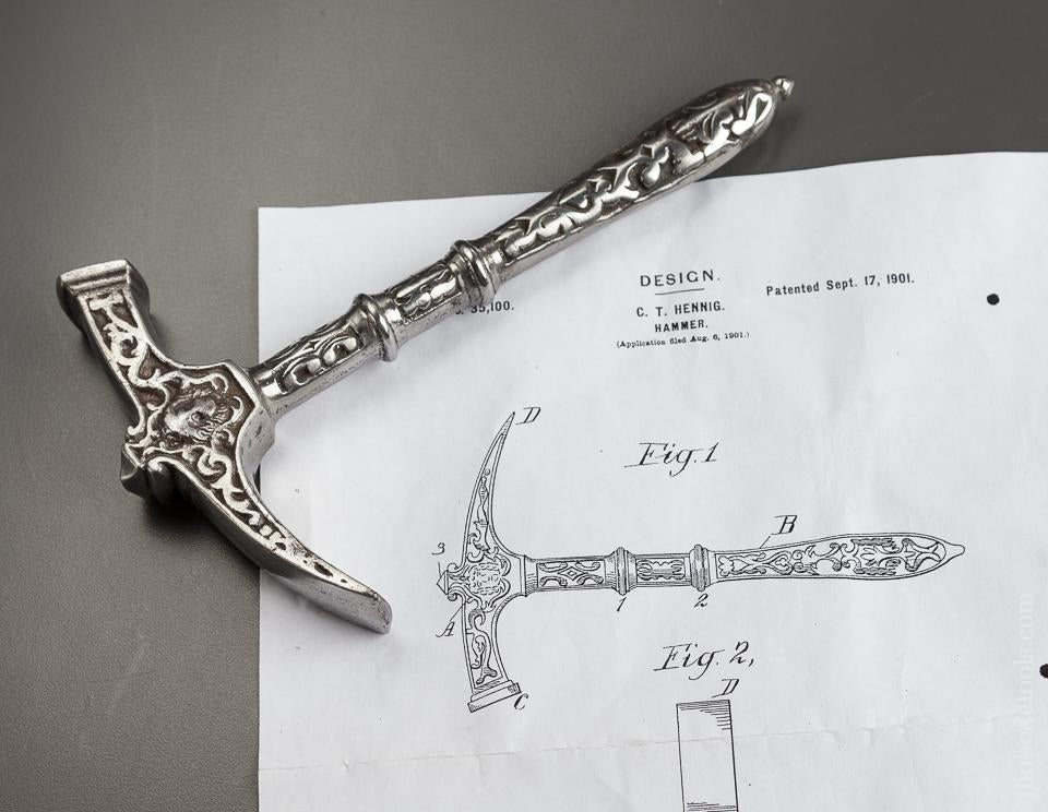 Fine 7 1/4 inch Ornate HENNIG Patent September 17, 1901 Hammer - 77921R