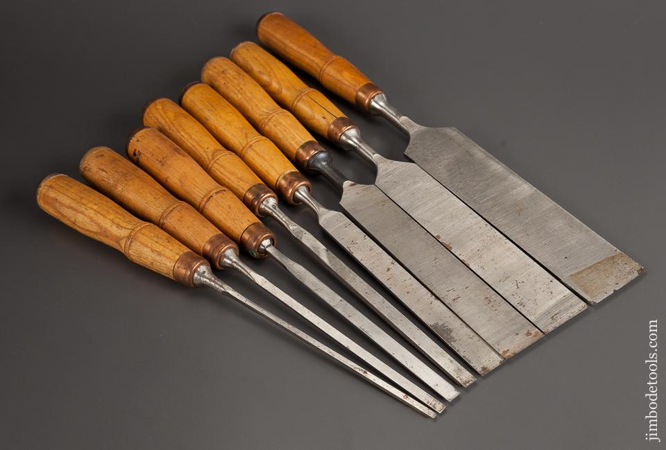 NEAR MINT Set of Eight BUCK BROS Tang Firming Chisels - 77942