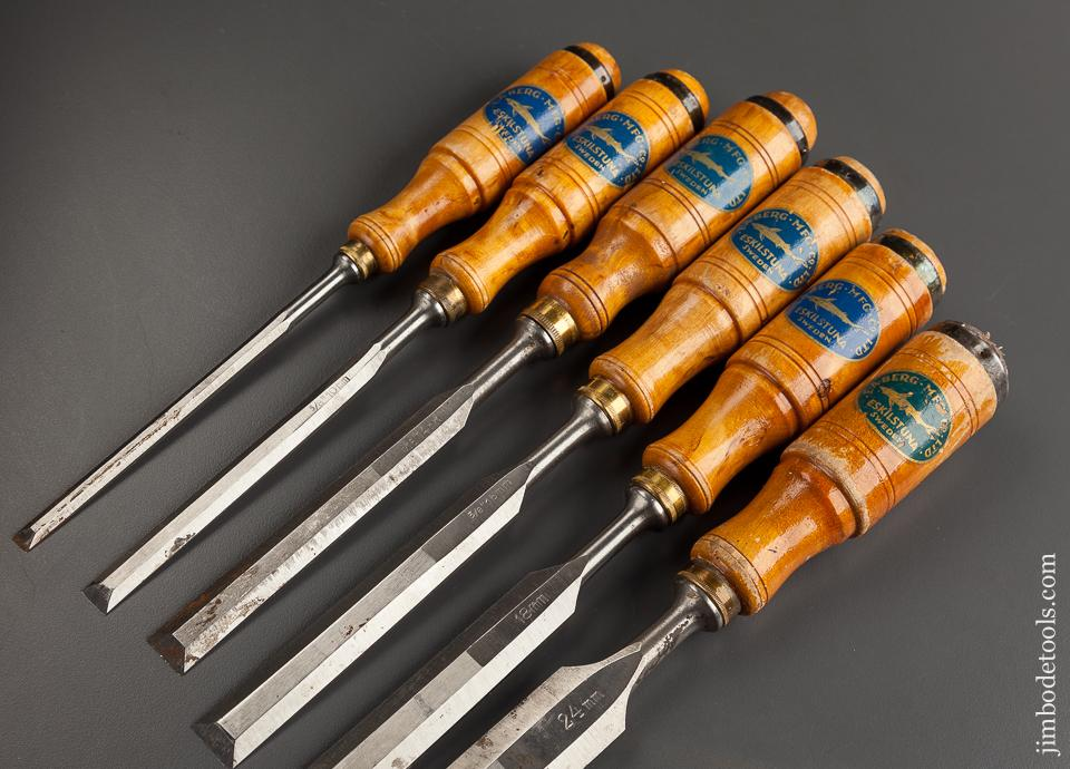 NEAR MINT Set of Six E.A. BERG ESKILSTUNA Tang Bench Chisels BARELY USED with Decals - 78004