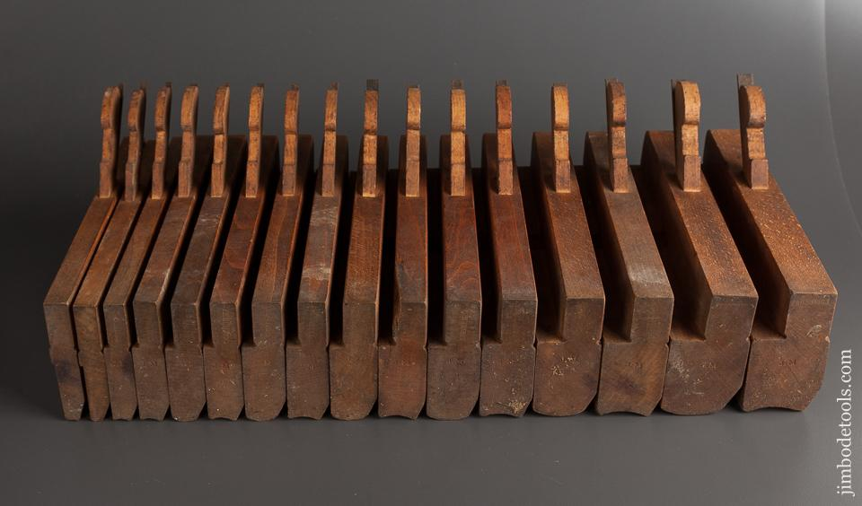 Fantastic CRISP Set of 16 J. DENISON Hollows & Rounds Molding Planes circa 1840-76 Saybrook, CT - 78009