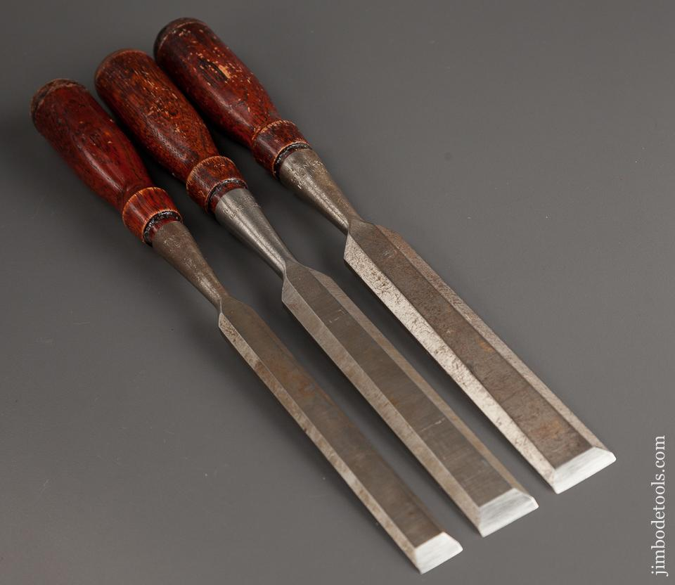 EXTRA FINE Set of Three STANLEY Socket Chisels NEAR MINT - 78038