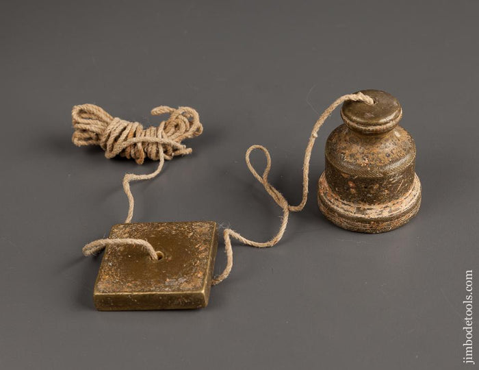 Fantastic! 18th Century 16 ounce Brass Plumb Bob with Period Bead and Rope Knurling - 78282R
