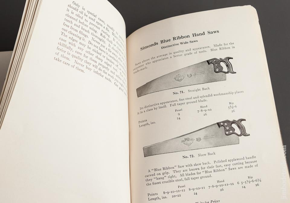 Book:  ORIGINAL 1923 SIMONDS 64 page SAWS KNIVES AND FILES Catalog and How-To Info - 78496