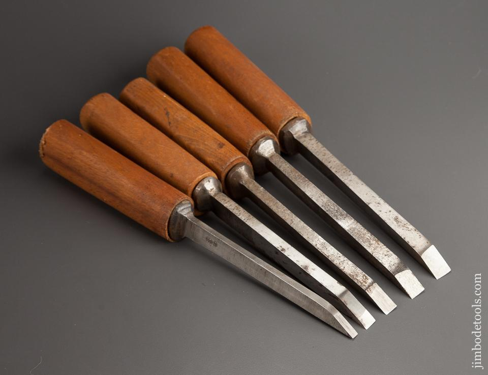 Crisp Dated Set of Five WILKINSON SHEFFIELD Pig Sticker Mortise Chisels Dated 1952 NEAR NEW Condition! - 78522