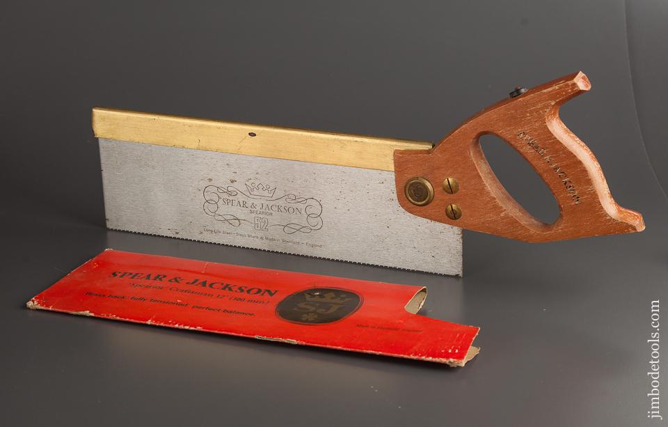 "15 point 12 inch Rip SPEAR & JACKSON ""Spearior"" Brass Back Craftsman Saw MINT in Original Box NEW OLD STOCK - 78572R"