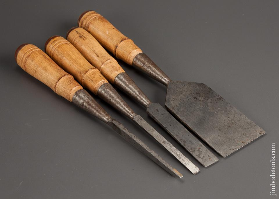 Set of Four Antique Socket Firmer Chisels UNUSED - 78636