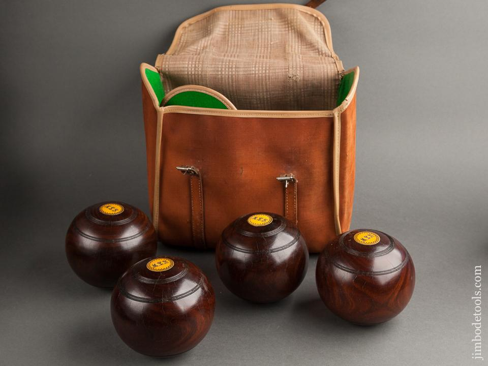 Lovely Lignum Lawn Bowl Bocce Set in Original Carrying Case by SLAZENGER - 78714