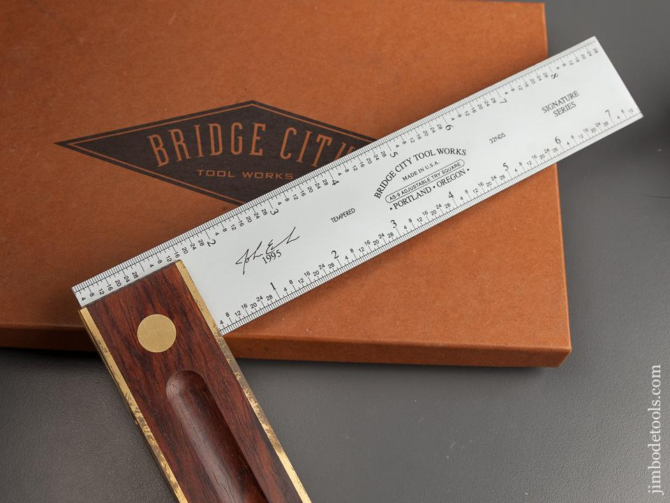 1995 BRIDGE CITY TOOL WORKS AS-9 Rosewood Adjustable Try Square in Original Box - 78725