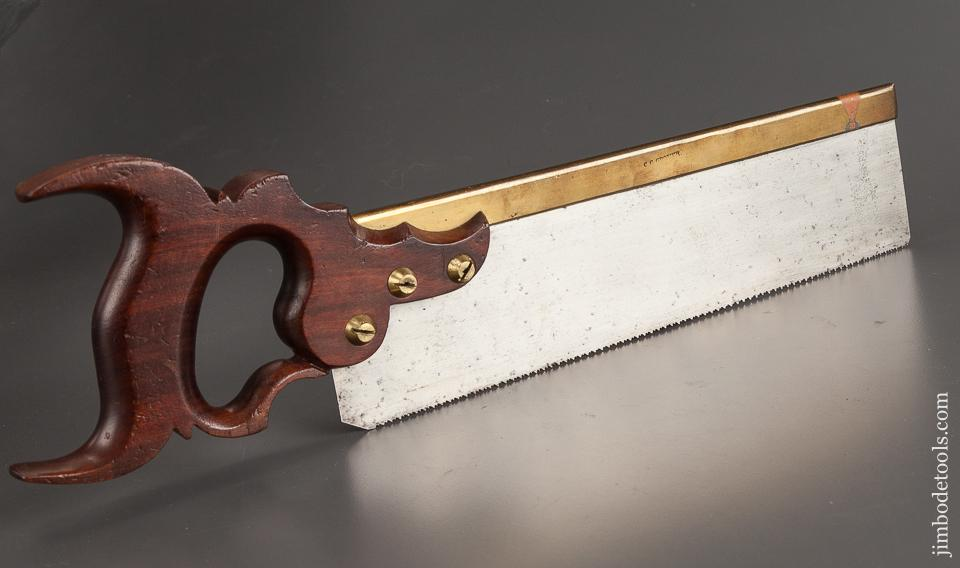 Stunning! Mahogany Handled 15 point 12 inch Crosscut Brass Back Saw by JACKSON Monroe, NY circa 1813! -78761U