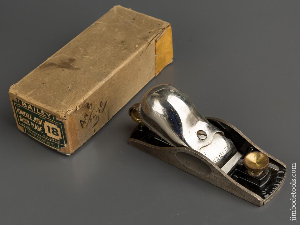 STANLEY No. 18 Knuckle Joint Block Plane NEAR MINT in Original Box - 78832
