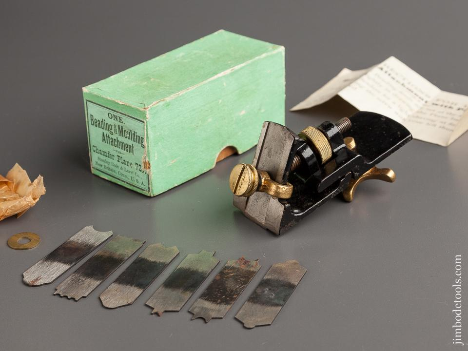 STANLEY Beading and Moulding Attachment for STANLEY No. 72 1/2 Chamfer Plane MINT & COMPLETE in Original Box - 78834