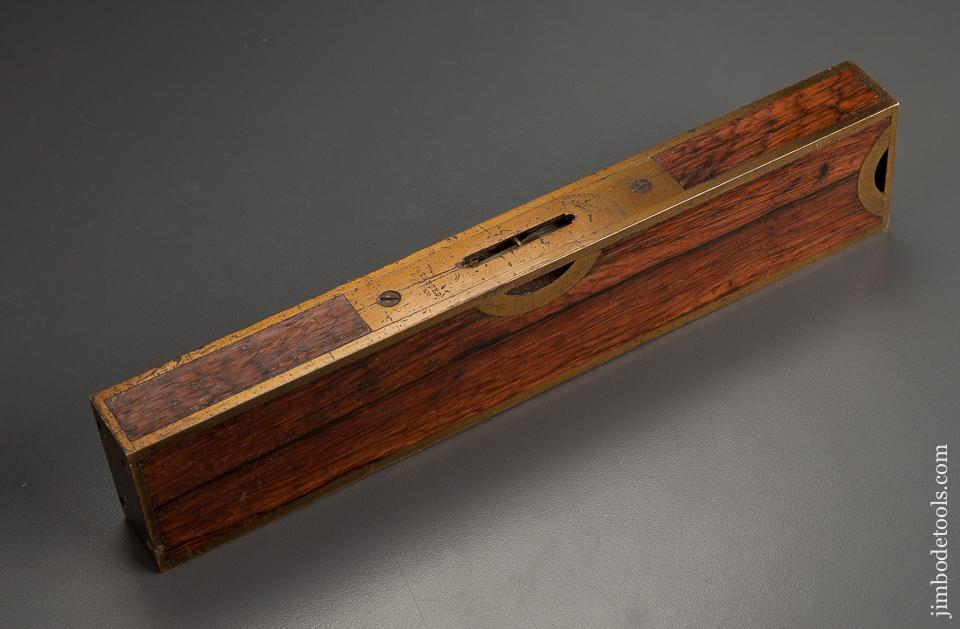 Fantastic! STRATTON March 1, 1870 Patent Ten inch Rosewood and Brass Plumb & Level - 78899R