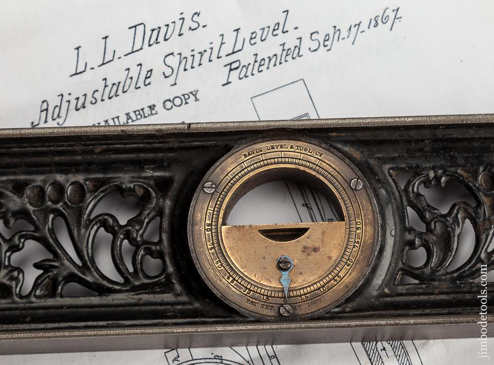 Extra Fine DAVIS September 7, 1867 Patent 12 inch Inclinometer Level - 78920R