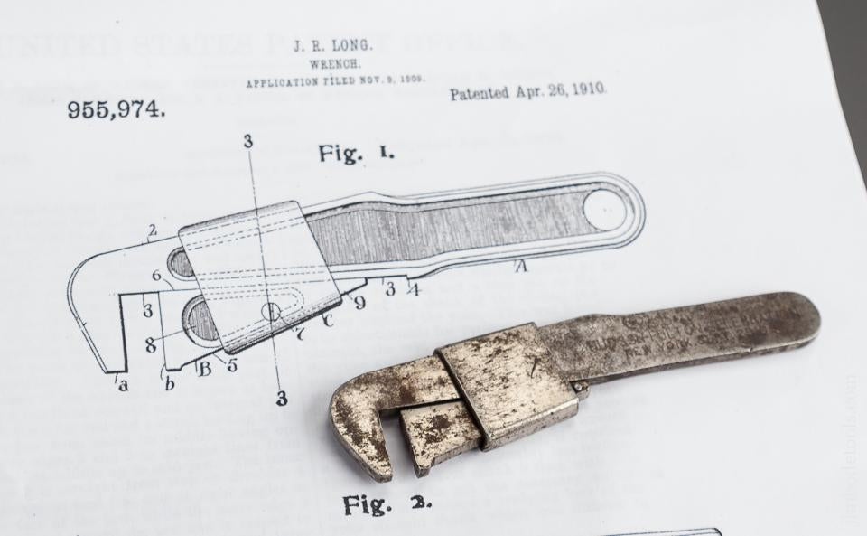 Four inch Rare Size LONG Patent April 26, 1910 Bicycle Wrench by ROGERS PRINTZ & CO Warren, PA - 78936RK