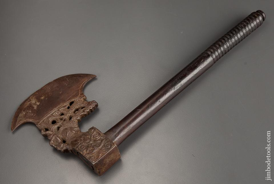 Unbelievable! Ornate 16th Century Italian or German Figural Battle Axe - 78937R