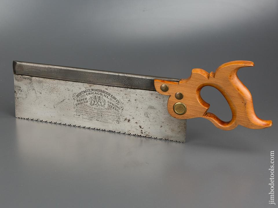 Uber Rare! MONTAGUE, WOODROUGH SAW CO Spring Steel BUNDY Patent September 4, 1888 Double Duty Rip and Crosscut Back Saw - 79096U