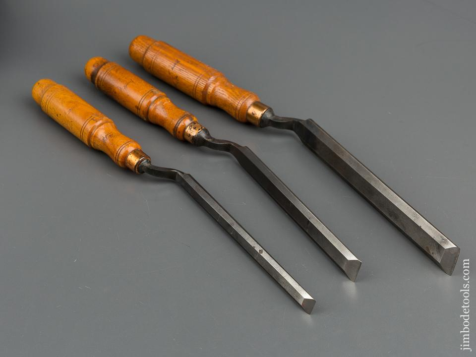 MINTY! Set of Three BUCK BROS Crank Neck Paring Chisels - 79310