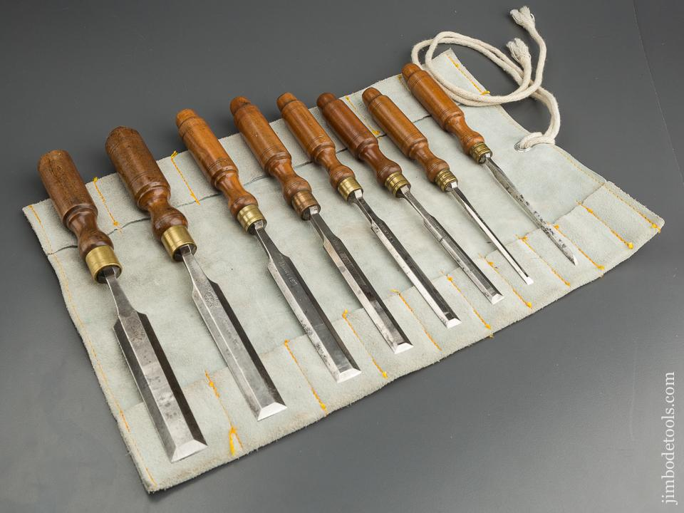 EXTRA FINE Set of Eight L&IJ WHITE Beveled Tang Chisels in Leather Roll - 79338