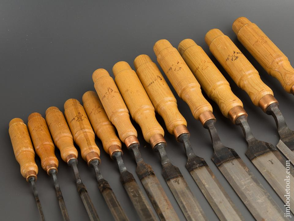 Set of Twelve BUCK BROS Crank Neck Paring Chisels DEAD MINT in Original Box UNUSED! - 79428