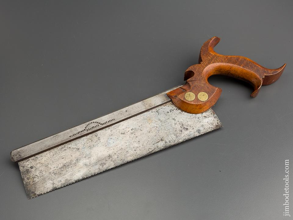 Extra Fine! 15 point 10 inch Crisp Crosscut S. BIGGIN & SON Back Saw circa 1845-56 SHARP! - 79430U