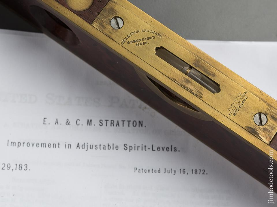 STRATTON Patent July 16, 1872 Boxwood and Brass Level - 79449